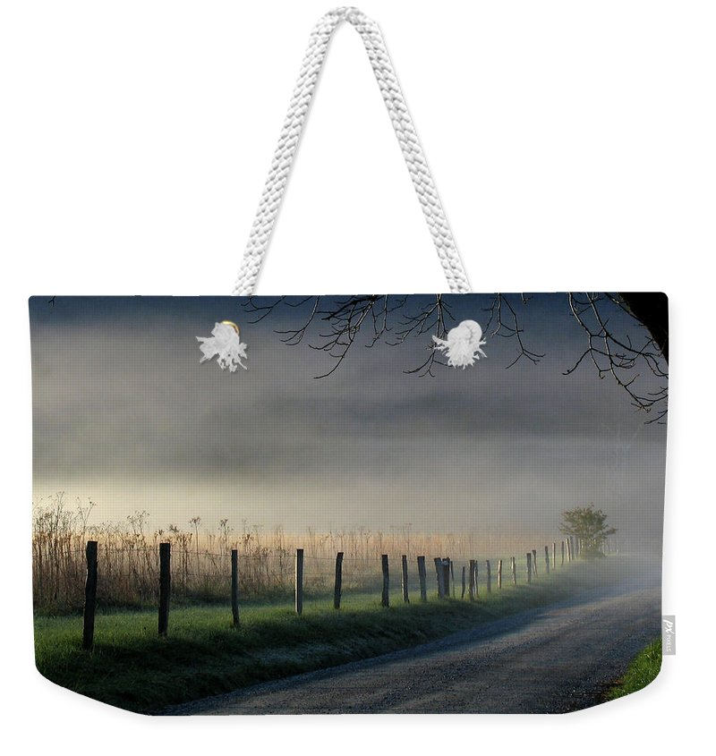 Fence Weekender Tote Bag featuring the photograph Sparks Lane Sunrise by Douglas Stucky
