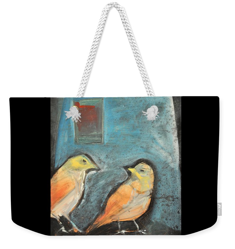 Birds Weekender Tote Bag featuring the painting Sparrows by Tim Nyberg