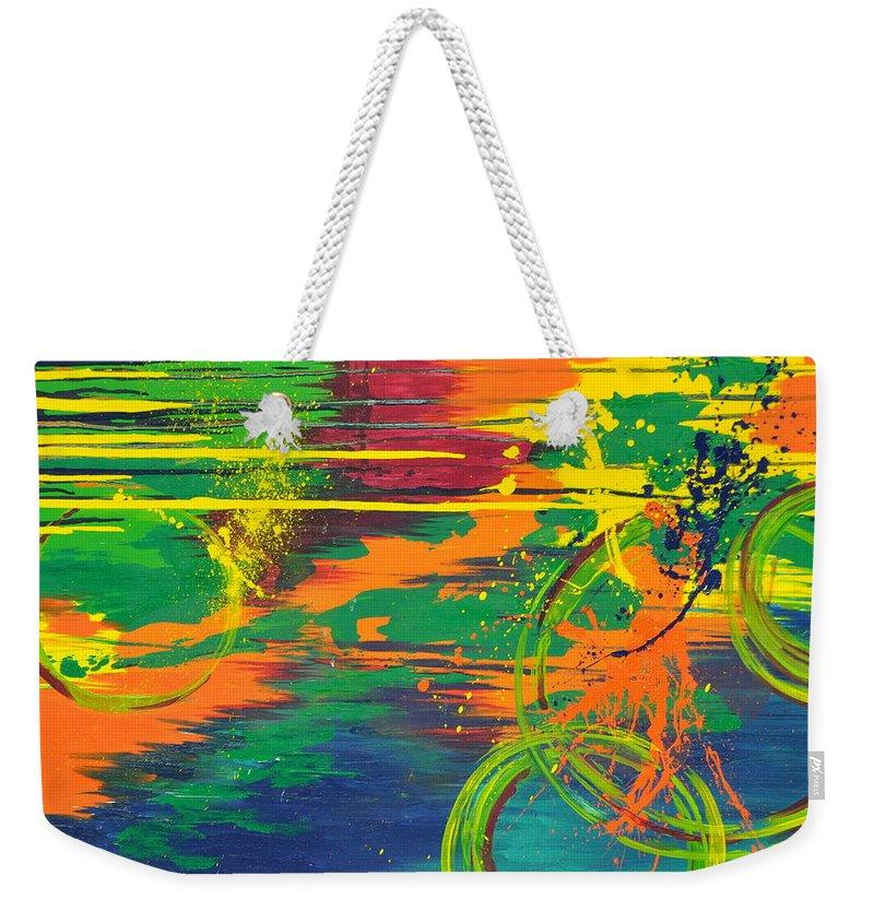 Modern Weekender Tote Bag featuring the painting Spatial Slice Diffusion by Amanda Van Hoesen
