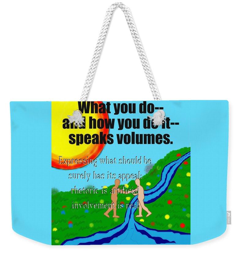 Action Weekender Tote Bag featuring the painting Speaks Volumes by Pharris Art