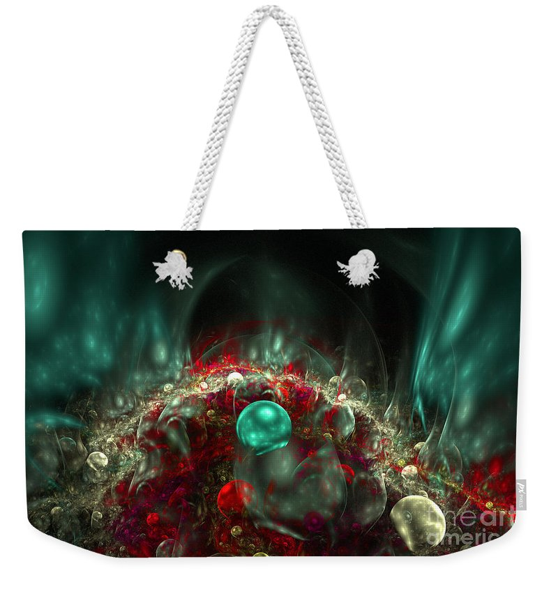 Fractal Weekender Tote Bag featuring the digital art Sphere City by Ann Garrett