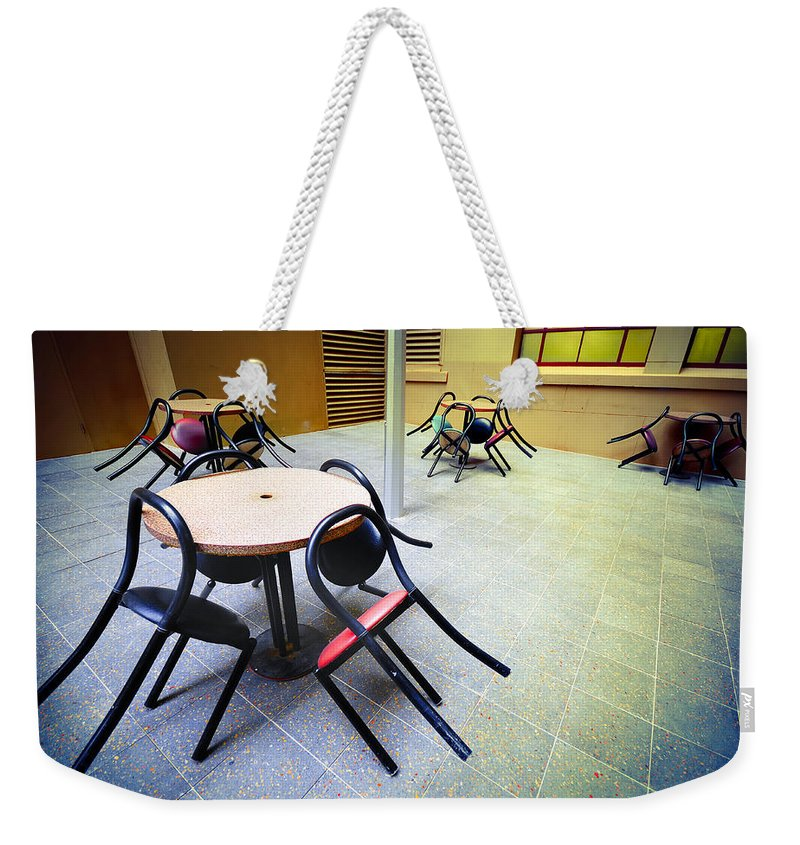 Chairs Weekender Tote Bag featuring the photograph Spiders From Mars by Wayne Sherriff