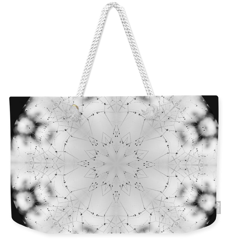 Spider Weekender Tote Bag featuring the photograph Spiderweb Dewed Snowflake by Anna Burdette