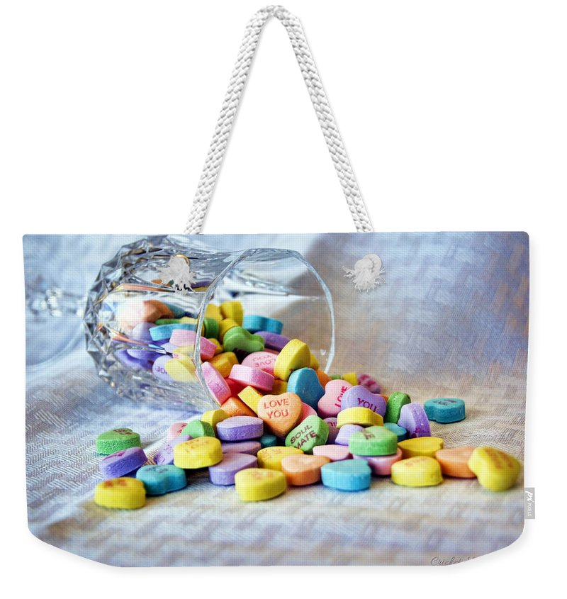 conversation Hearts Weekender Tote Bag featuring the photograph Spilled My Heart Out by Cricket Hackmann