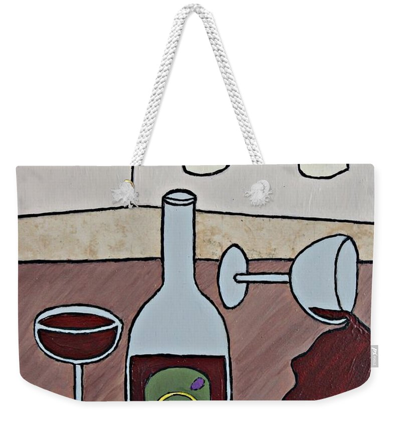 Folk Art Weekender Tote Bag featuring the painting Essence Of Home - Spilt Wine by Sheryl Young