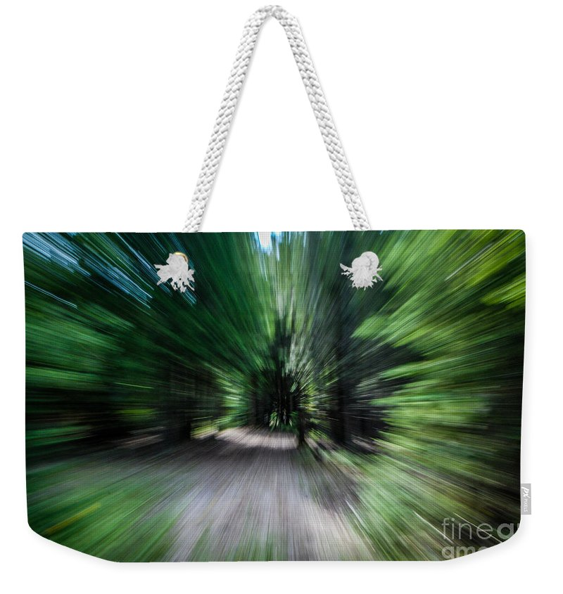 Spin Weekender Tote Bag featuring the photograph Spinning Through The Woods by Grace Grogan