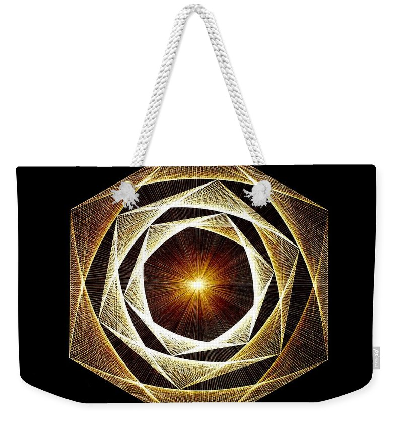 Fractal Weekender Tote Bag featuring the drawing Spiral Scalar by Jason Padgett