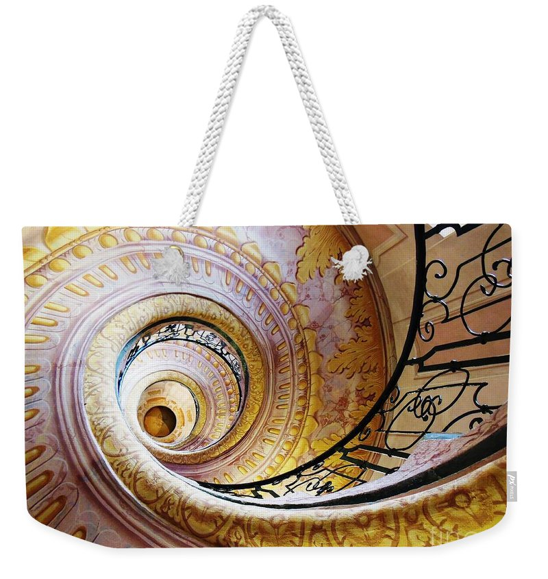Architectural Weekender Tote Bag featuring the photograph Spiral Staircase by Lisa Kilby