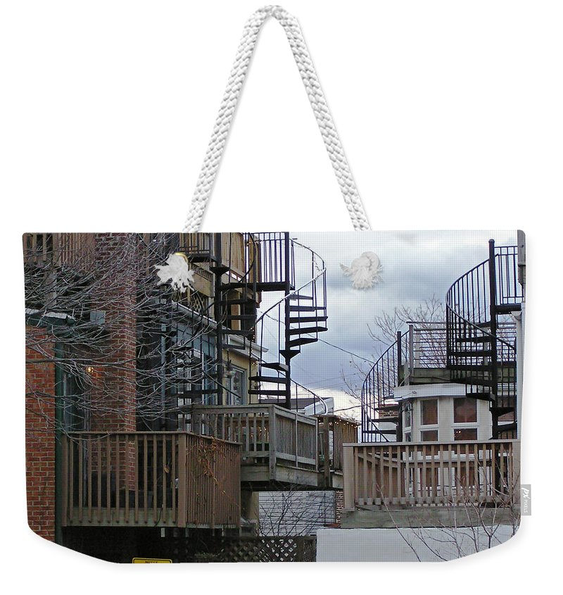 2d Weekender Tote Bag featuring the photograph Spiral Stairs by Brian Wallace