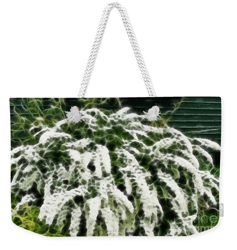 Spirea Expressive Brushstrokes Weekender Tote Bag featuring the photograph Spirea Expressive Brushstrokes by Barbara Griffin