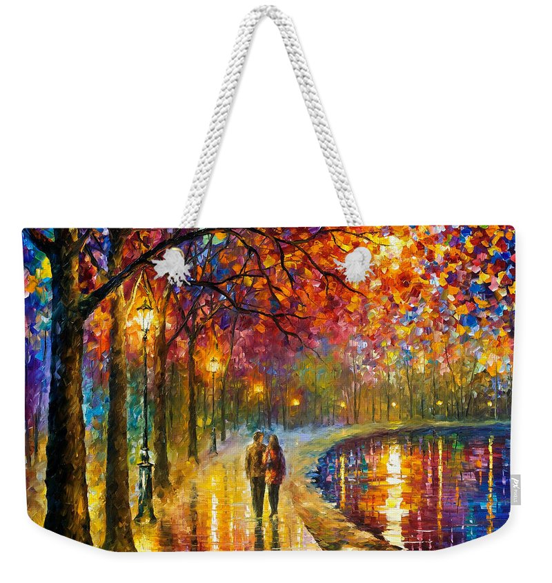 Oil Paintings Weekender Tote Bag featuring the painting Spirits By The Lake - Palette Knife Oil Painting On Canvas By Leonid Afremov by Leonid Afremov
