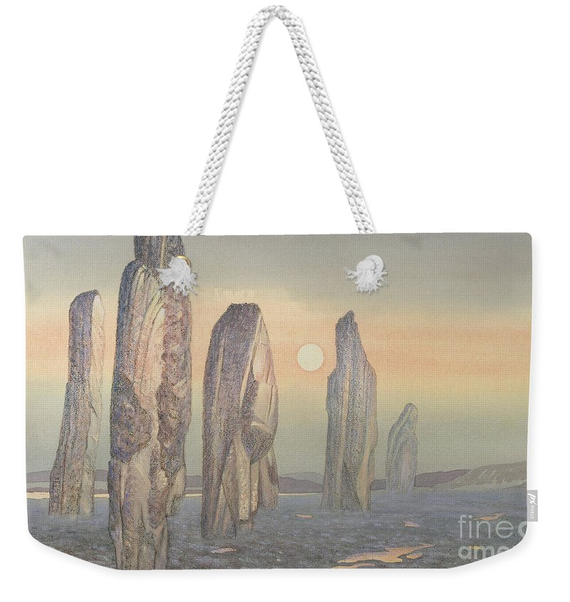 Landscape; Outer Hebrides; Ancient; Stone Circle; Monument; Sunset;mist; Neolithic Weekender Tote Bag featuring the painting Spirits Of Callanish Isle Of Lewis by Evangeline Dickson