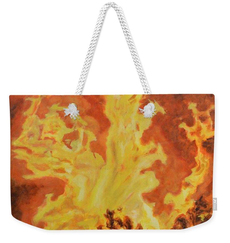 Sati Weekender Tote Bag featuring the painting Spirits Of Sati by Usha Shantharam