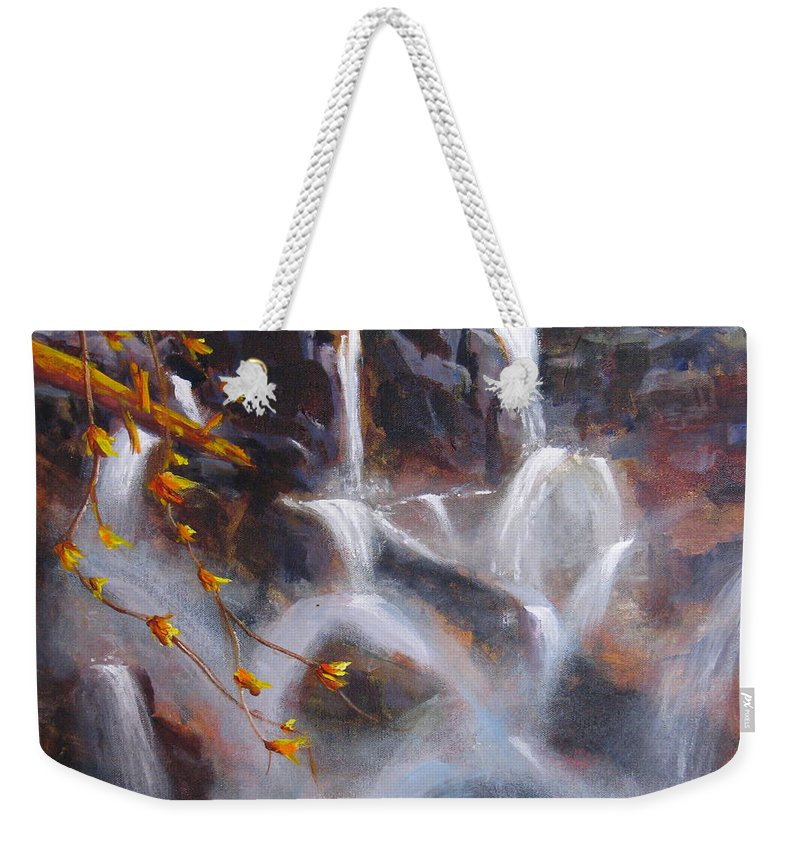 Background Weekender Tote Bag featuring the painting Splash And Trickle by Mohamed Hirji