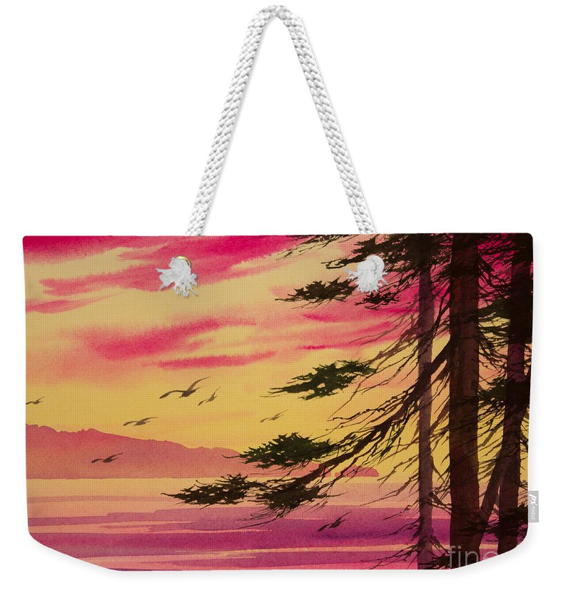 Watercolor Landscape Weekender Tote Bag featuring the painting Splendid Sunset Bay by James Williamson