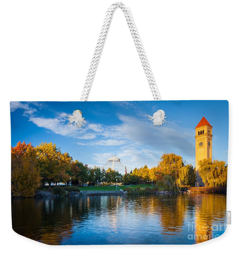 America Weekender Tote Bag featuring the photograph Spokane Reflections by Inge Johnsson