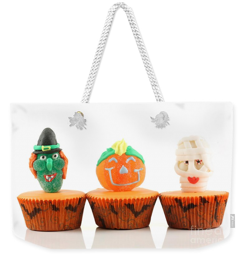 Cup Weekender Tote Bag featuring the photograph Spooks Cup Cakes On White Background by Simon Bratt Photography LRPS