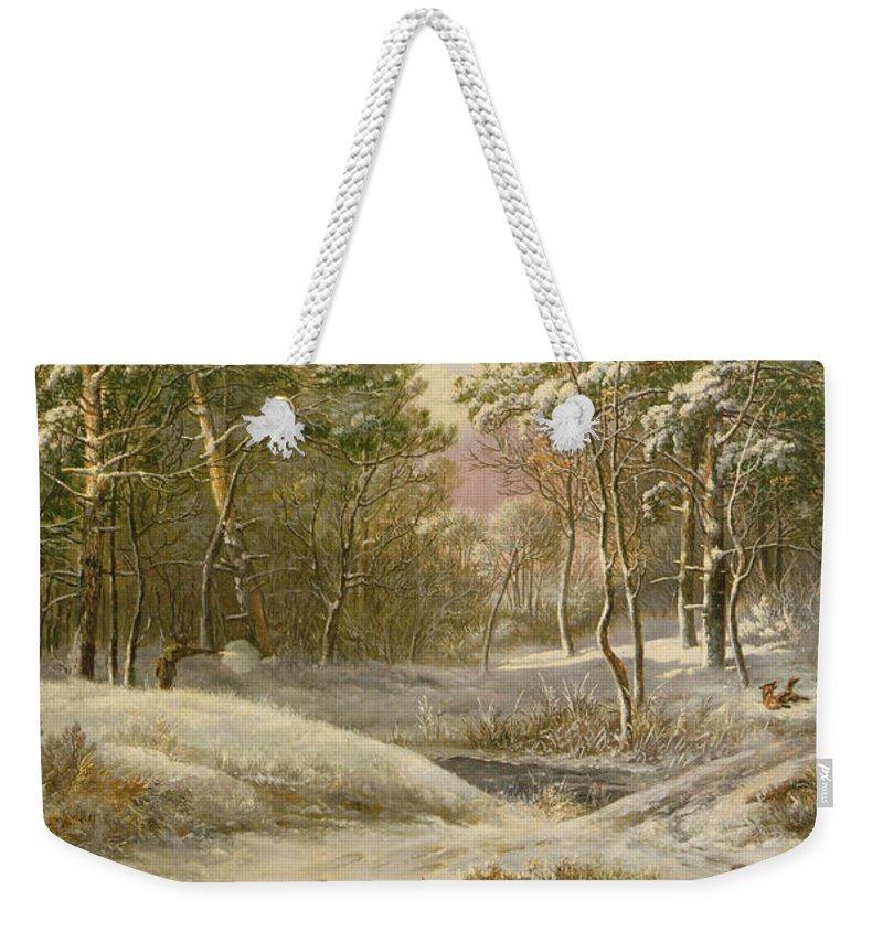 Sportsmen Weekender Tote Bag featuring the painting Sportsmen In A Winter Forest by Pieter Gerardus van