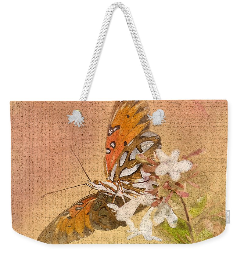 Gulf Fritillary Weekender Tote Bag featuring the photograph Spreading My Wings by Betty LaRue