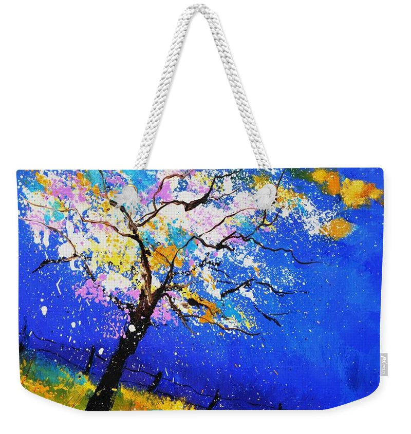 Original Oil On Canvas Stretched On A Wooden Frame Weekender Tote Bag featuring the painting Spring 563140 by Pol Ledent