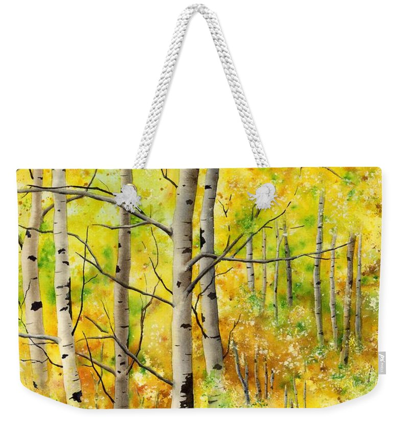 Trees Weekender Tote Bag featuring the painting Spring Aspens by Hailey E Herrera