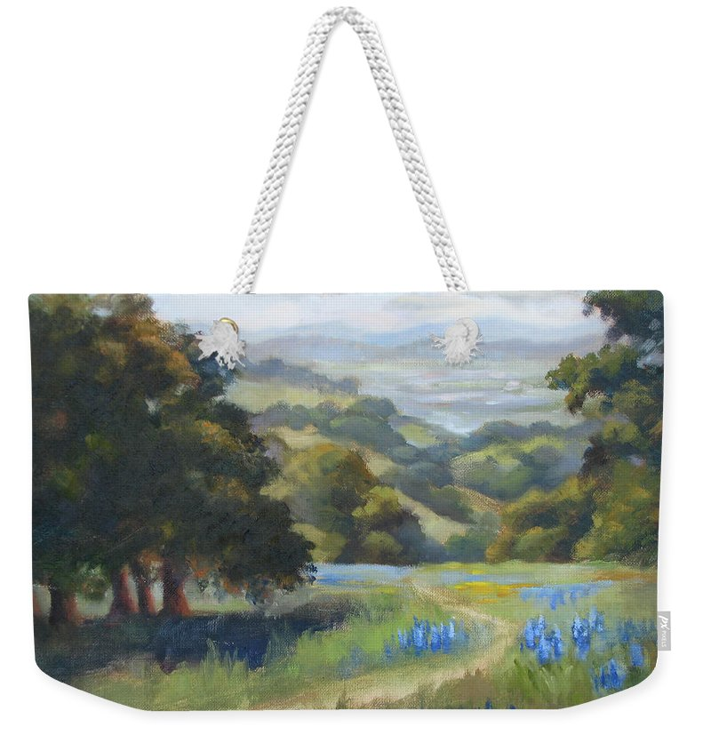 Lupines Weekender Tote Bag featuring the painting Spring At Toro Park by Karin Leonard