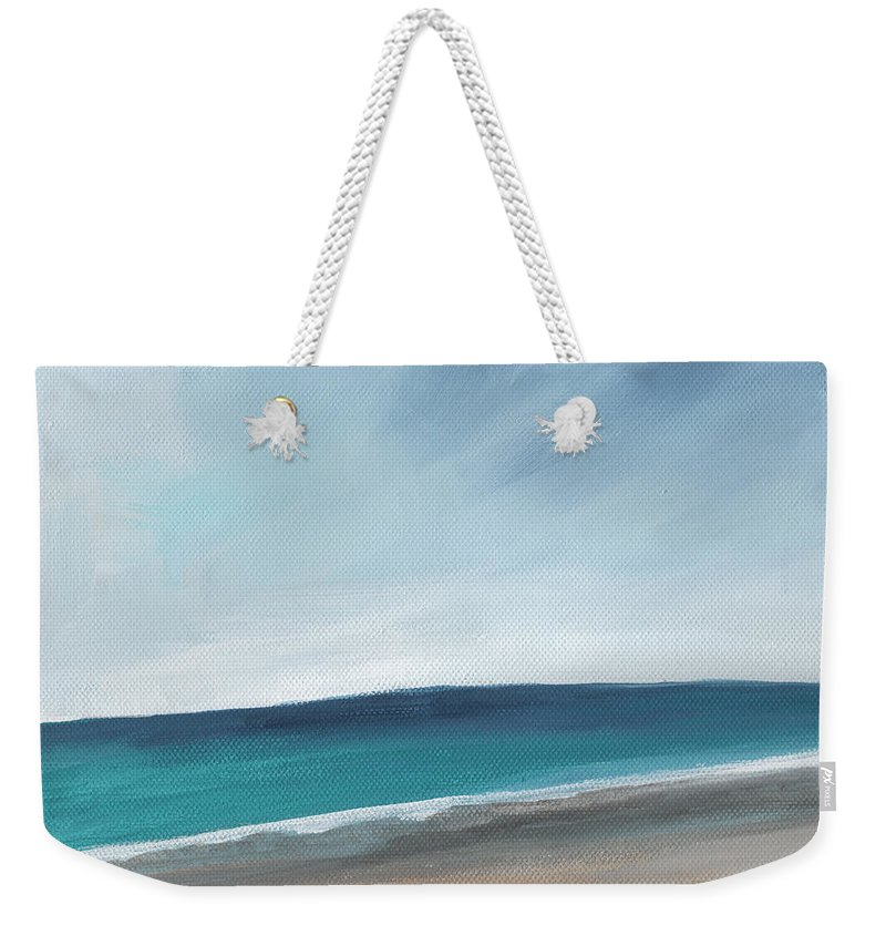 Beach Weekender Tote Bag featuring the painting Spring Beach- Contemporary Abstract Landscape by Linda Woods
