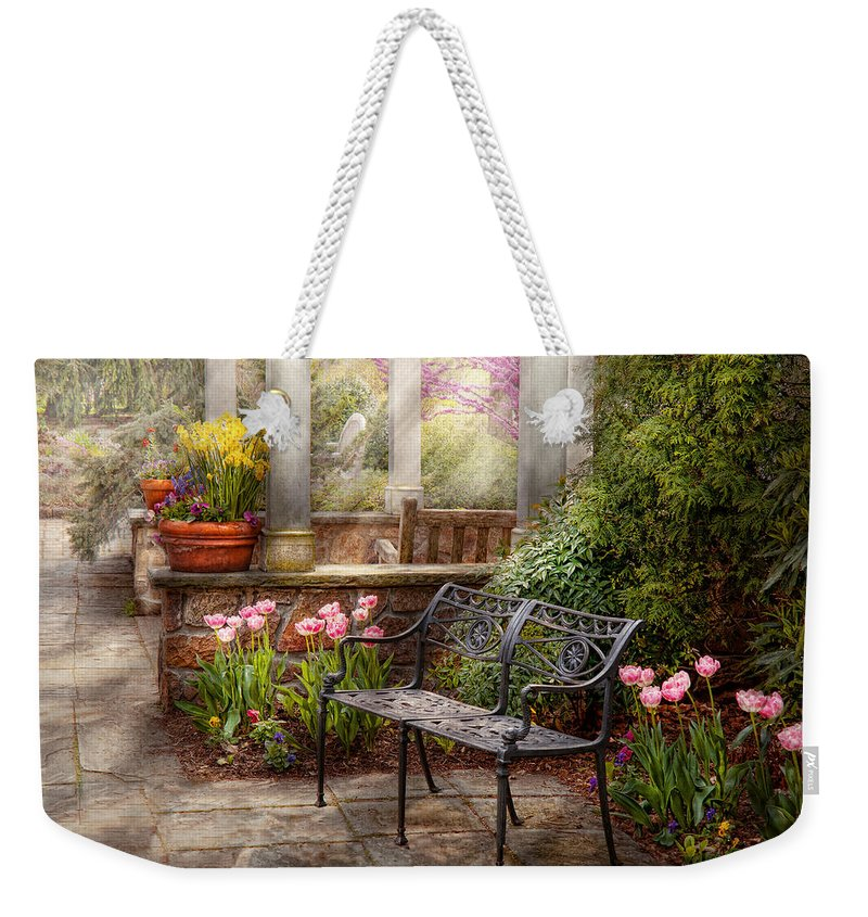 Spring Weekender Tote Bag featuring the photograph Spring - Bench - A Place To Retire by Mike Savad