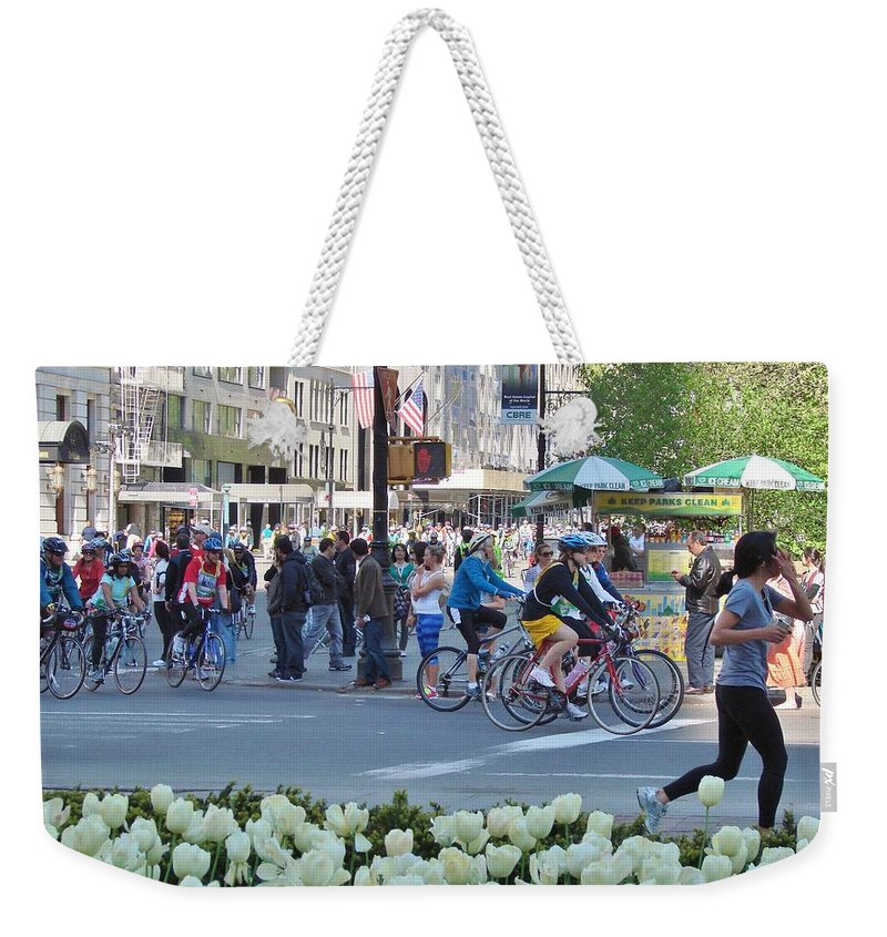 City Street Weekender Tote Bag featuring the photograph Spring Bike Event From New York To New Jersey by Margaret Bobb