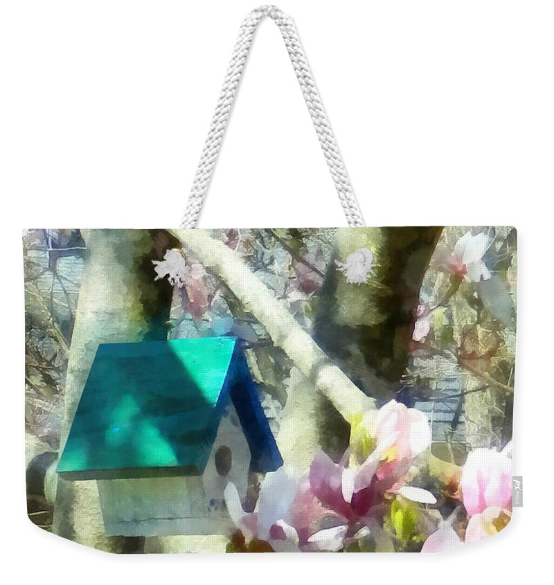 Birdhouse Weekender Tote Bag featuring the photograph Spring - Birdhouse In Magnolia by Susan Savad