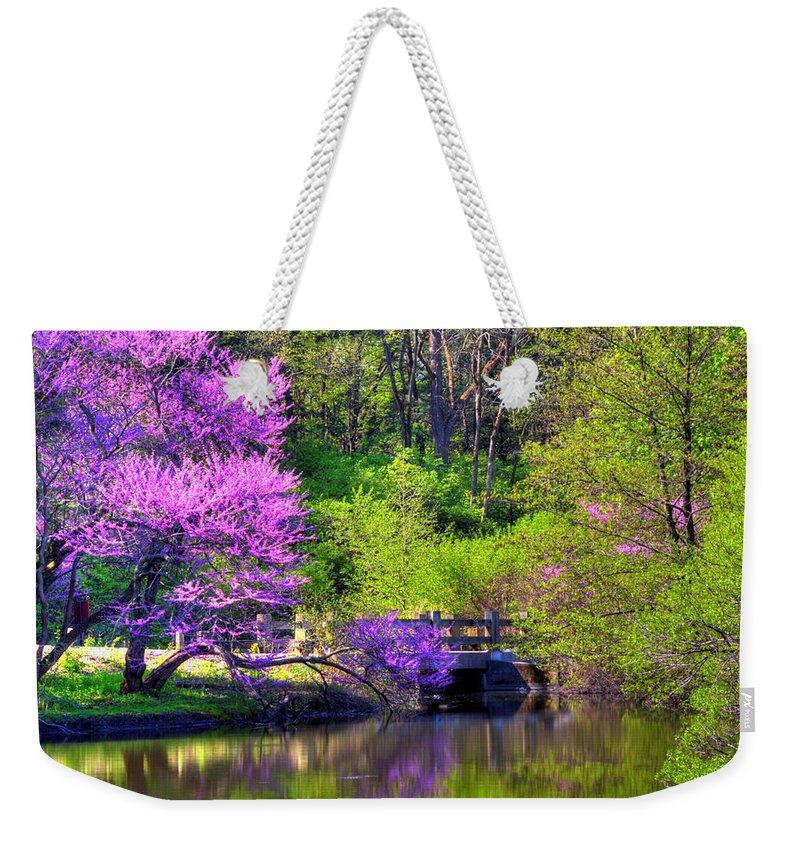 Spring Weekender Tote Bag featuring the photograph Spring Blossoms On Lake Marmo by John Absher