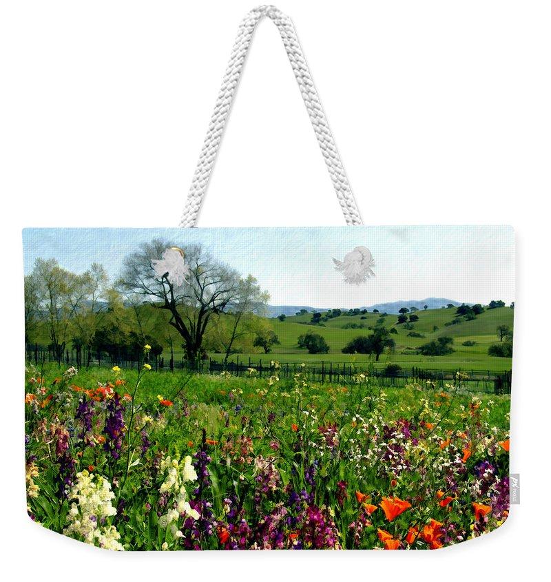 Flowers Weekender Tote Bag featuring the photograph Spring Bouquet At Rusack Vineyards by Kurt Van Wagner