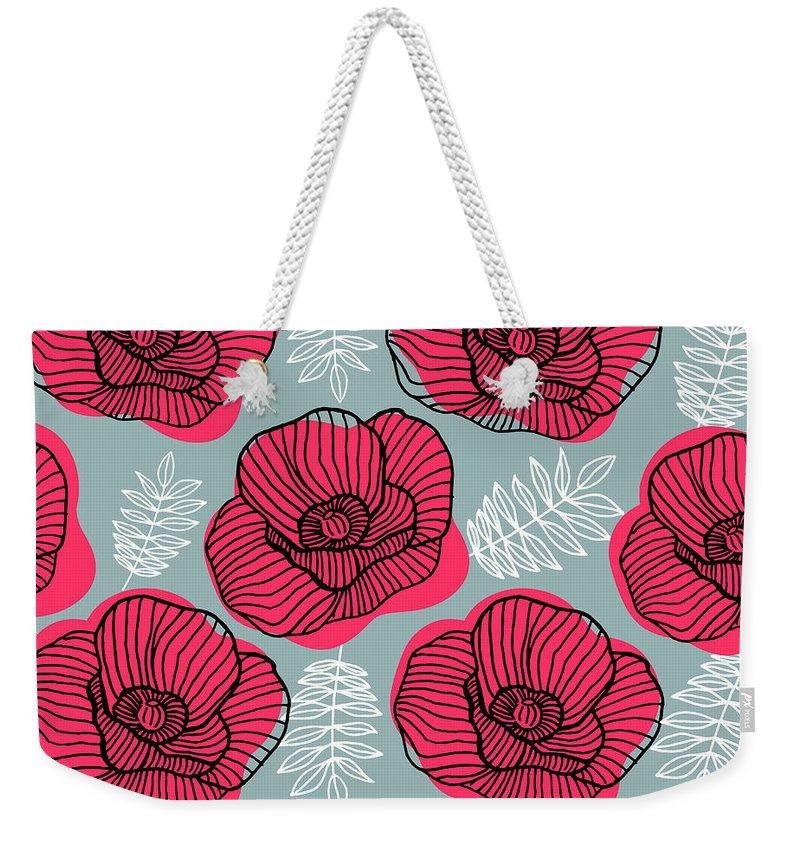 Flowerbed Weekender Tote Bag featuring the digital art Spring Bright Seamless Floral Pattern by Ekaterina Bedoeva