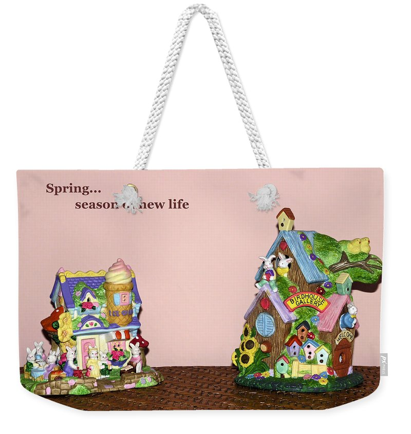 Ceramic Spring Decorations; Rabbit Village; Holiday; Ice Cream Shop; Birdhouse Gallery; Easter Weekender Tote Bag featuring the photograph Spring Bunnies by Sally Weigand