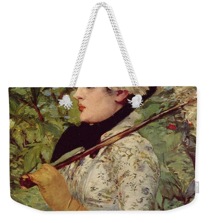 1881 Weekender Tote Bag featuring the painting Spring by Edouard Manet