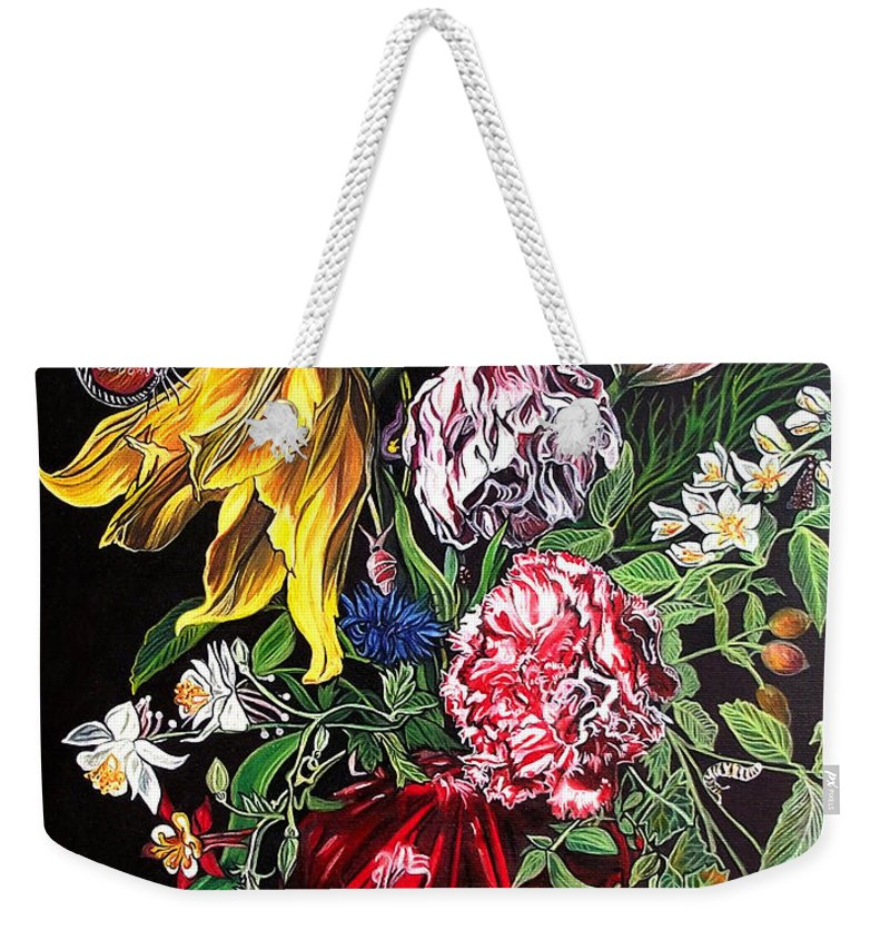 Glass Still Life Weekender Tote Bag featuring the painting Spring Flower Bouquet by Safir Rifas