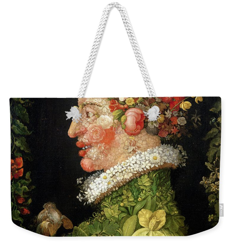 Arcimboldo Weekender Tote Bag featuring the painting Spring, From A Series Depicting The Four Seasons by Giuseppe Arcimboldo
