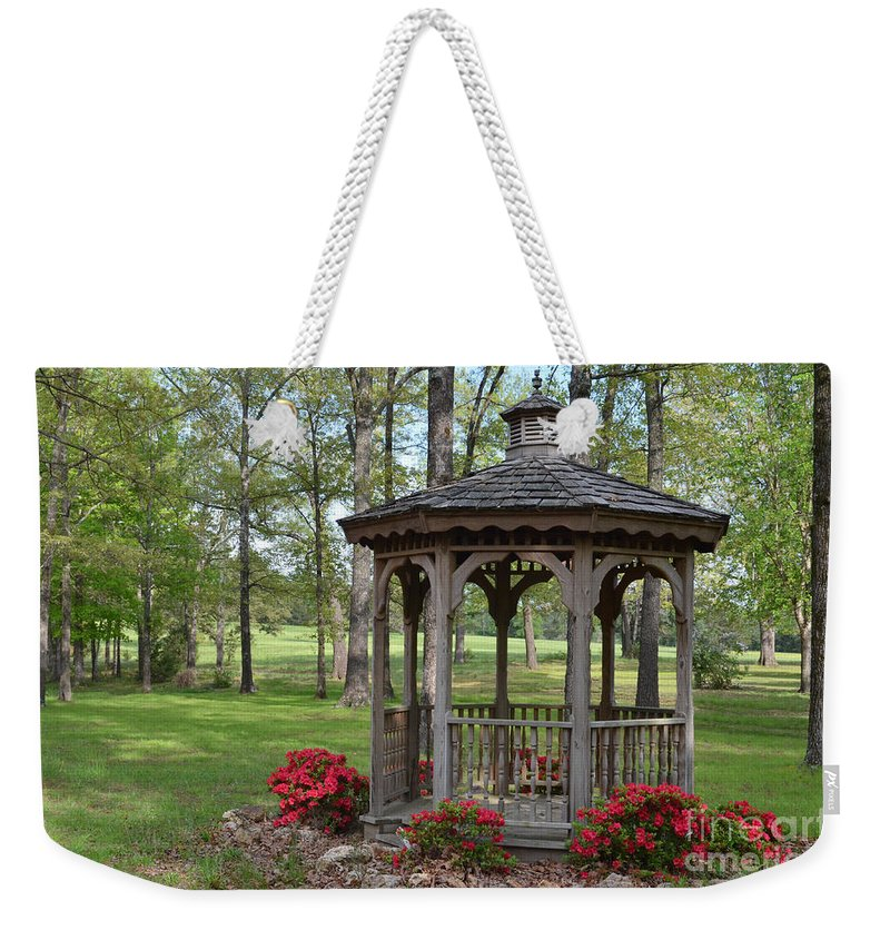 Nature Weekender Tote Bag featuring the photograph Spring Gazebo by Debbie Portwood