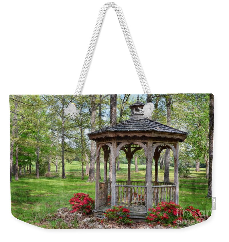 Nature Weekender Tote Bag featuring the photograph Spring Gazebo Pastel Effect by Debbie Portwood