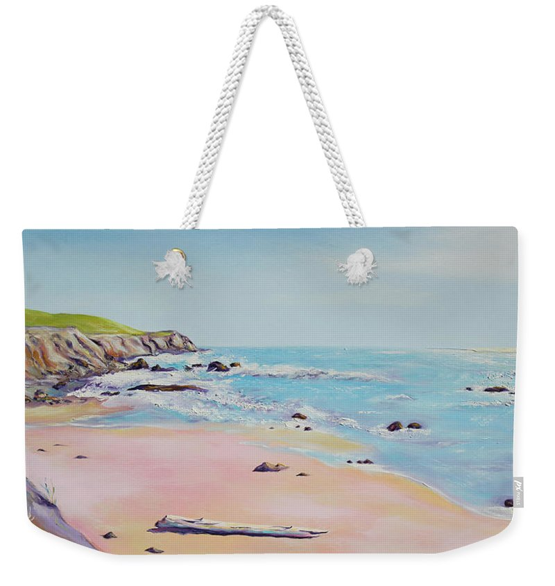 Seascape Painting Weekender Tote Bag featuring the painting Spring Hills And Seashore At Bowling Ball Beach by Asha Carolyn Young
