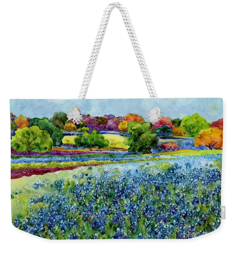 Bluebonnet Weekender Tote Bag featuring the painting Spring Impressions by Hailey E Herrera