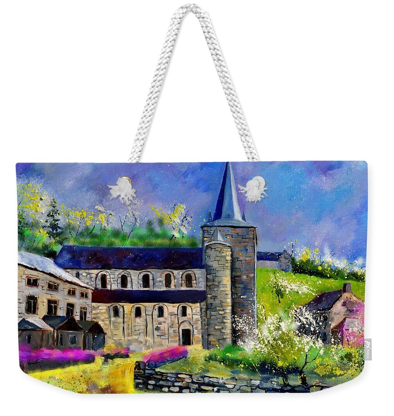 Landscape Weekender Tote Bag featuring the painting Spring In Celles by Pol Ledent