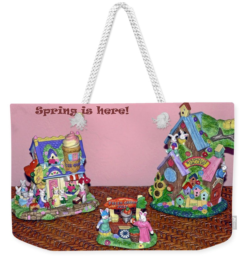 Ceramic Spring Decorations Weekender Tote Bag featuring the photograph Spring Is Here by Sally Weigand