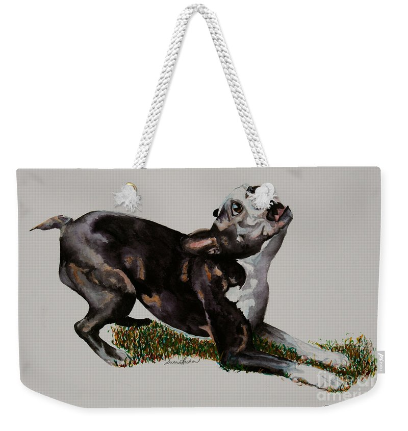 Dog Weekender Tote Bag featuring the painting Spring Loaded by Susan Herber