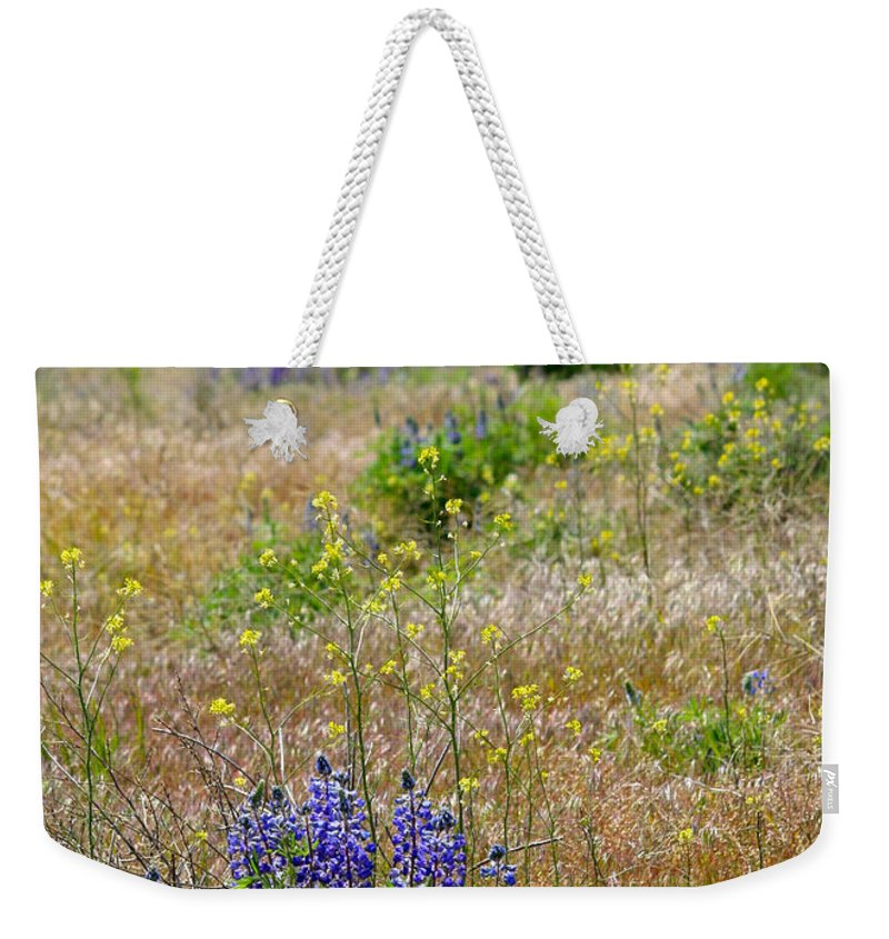 Lupines Weekender Tote Bag featuring the photograph Spring Lupines And Cheatgrass by Carol Groenen