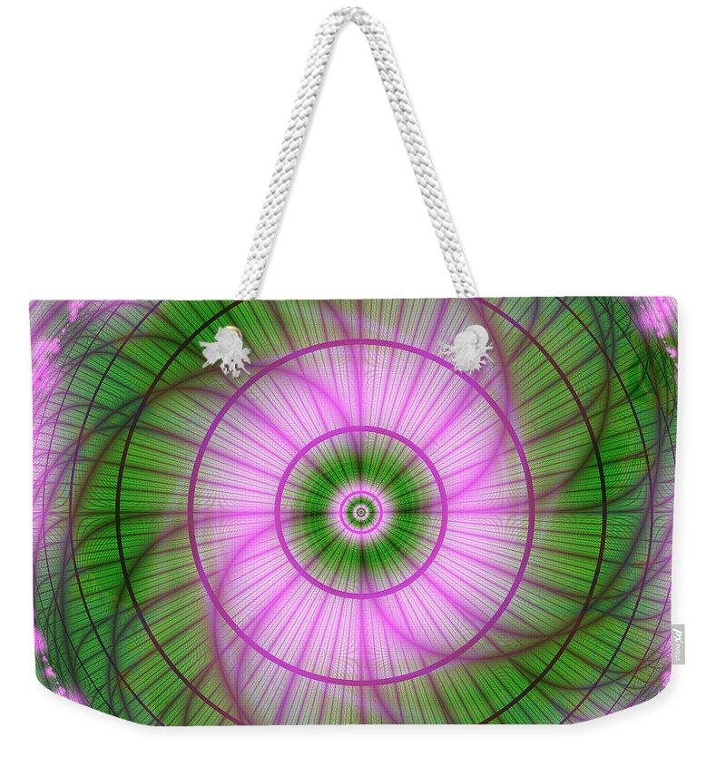 Fractal Art Weekender Tote Bag featuring the digital art Spring Mandala For Winter Day by Elizabeth McTaggart