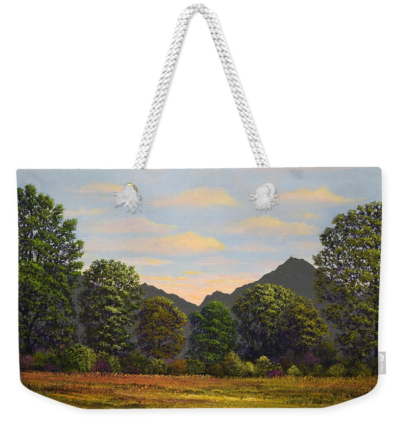 Spring Meadow At Sutter Buttes Weekender Tote Bag featuring the painting Spring Meadow At Sutter Buttes by Frank Wilson