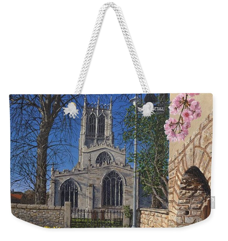 Landscape Weekender Tote Bag featuring the painting Spring Morning Brides Cottage Tickhill Yorkshire by Richard Harpum