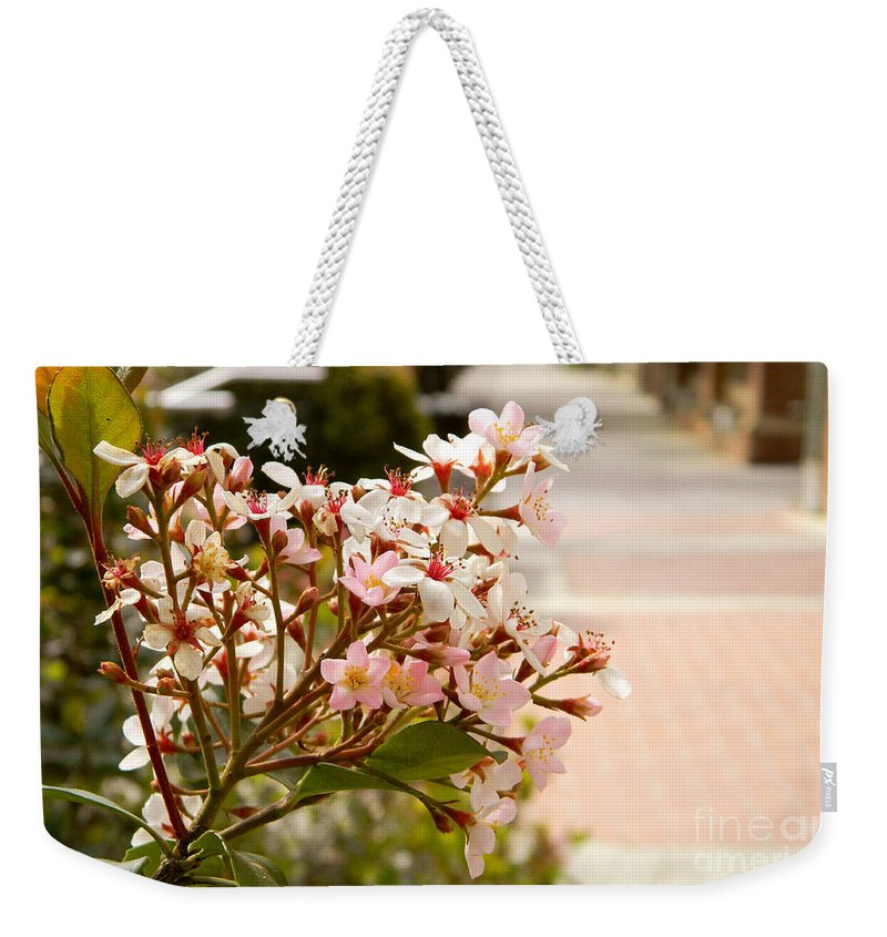 Flower Weekender Tote Bag featuring the photograph Spring On The Street by Andrea Anderegg