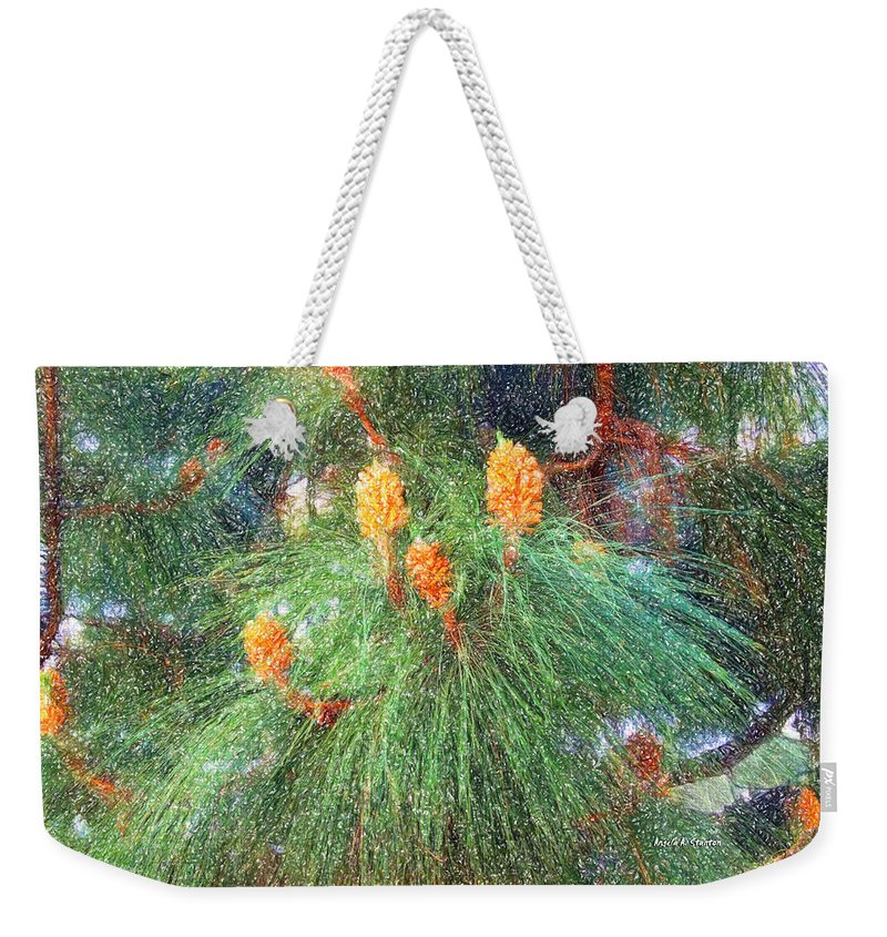 Pine Tree Weekender Tote Bag featuring the painting Spring Pine by Angela Stanton